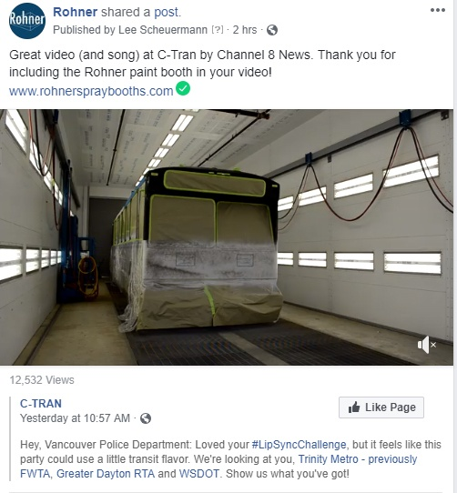Rohner Spray Booth Cameo in the CTRAN Video!